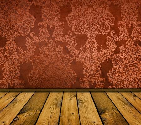 dark orange vintage room with wooden floor photo