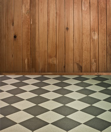 vintage brown wooden interior with chess floor and artistic shadows added photo