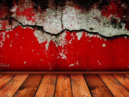 vintage interior with bright red cracked wall - similar images available photo