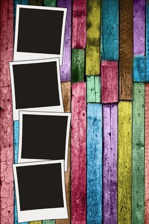 color photo: vintage wooden background with blank photos