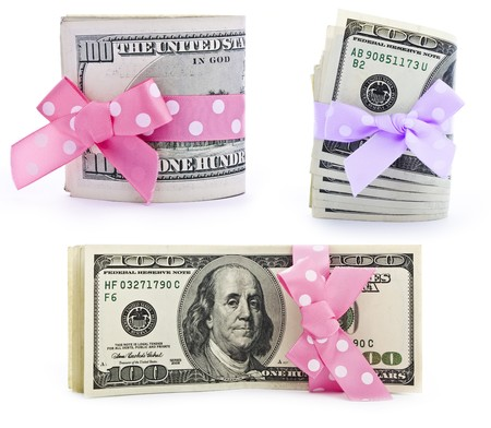 100-dollar bills stack strapped with a beautiful ribbon Stock Photo - 8058280
