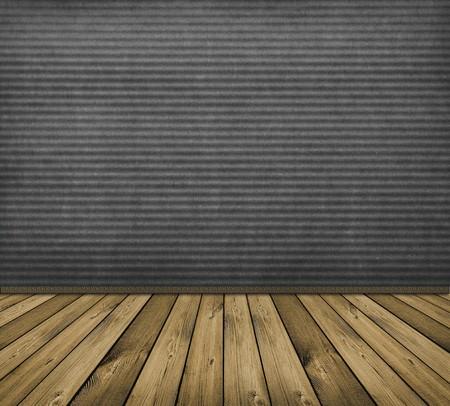 vintage grey interior with wooden floor photo