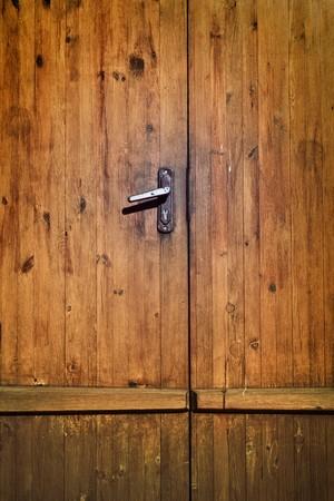 vintage brown wooden door close-up  photo