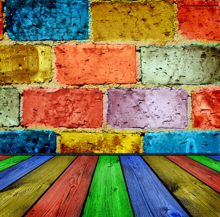 painted brick and wooden inter Stock Photo - 8165584