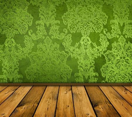 dark green vintage room with wooden floor photo