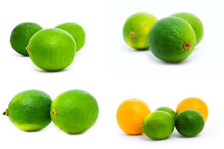 a set of oranges and limes isolated on white photo