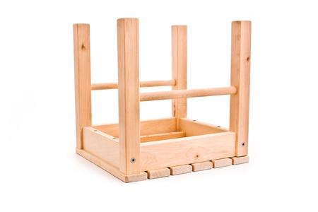 overturn: ovarturned  wooden stool isolated on white