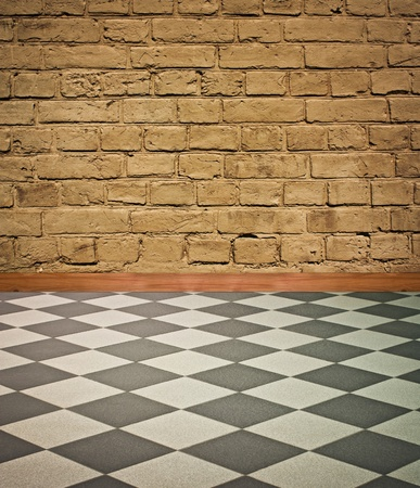 wonderful vintage interior with  black and white chess floor - artistic shadows added Stock Photo - 8396412