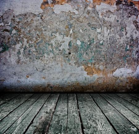 creative dark grunge concrete interior with wooden floor - artistic shadows added  Stock Photo - 8468392