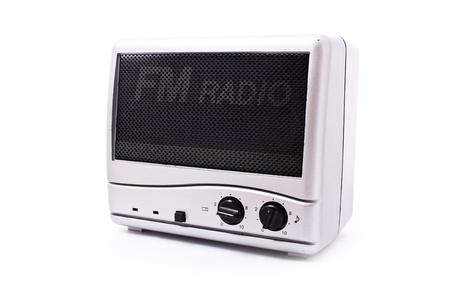 vintage radio isolated on white photo