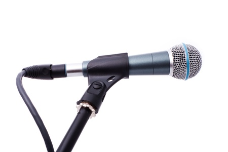 close up shot of microphone isolated on white