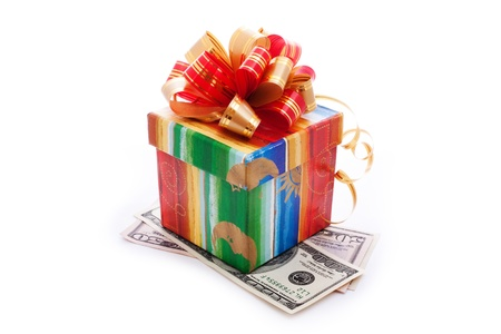 gift box full with dollar bills isolated on white Stock Photo - 8801199
