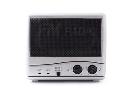 close up shot of vintage radio isolated on white  photo