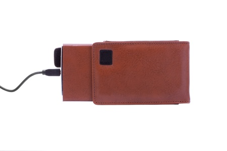 close up shot of brown external hdd in leather case Stock Photo - 9677546