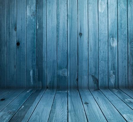 floor level: vintage blue wooden planks interior