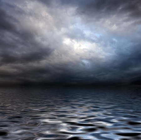 rough sea: dark storm sky over water surface with artistick shadows added