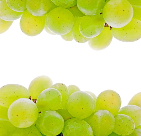 a bunch of green grape isolated over white