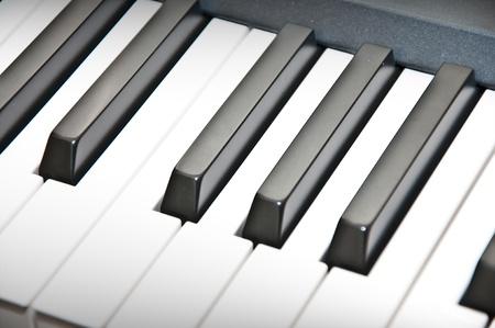 piano keyboard: Close up shot of black & white piano keys