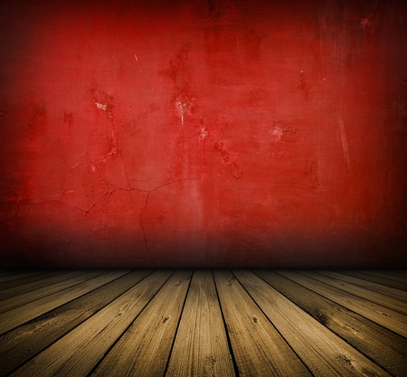 dark vintage red room with wooden floor and artistic shadows added photo