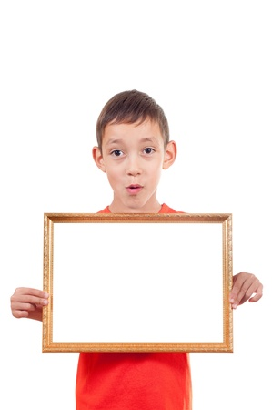 wondered: wondered boy holding empty wooden frame with white copy-space isolated on white