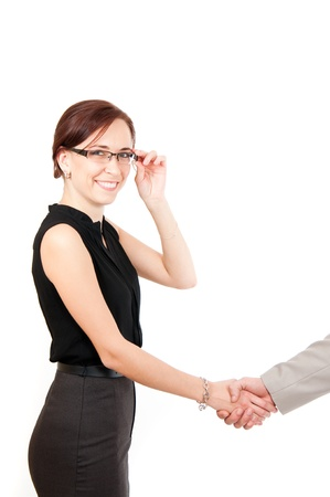 handshaking: business woman shaking male hand