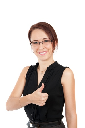 happy smiling young beautiful business woman showing thumbs up sign isolated over white background  photo