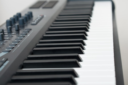 electronic piano keyboard closeup shallow depth of field Stock Photo