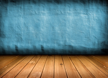 dark vintage blue room with wooden floor and artistic shadows added  photo