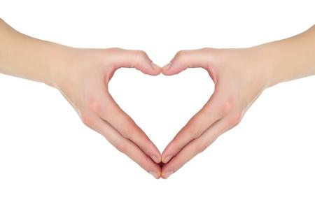 cuore in mano: mani femminili a forma di cuore isolato su sfondo bianco