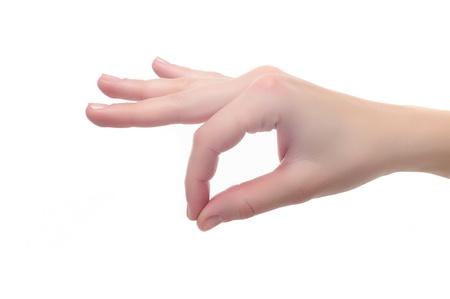 female Hand OK sign or holding something isolated on white background Stock Photo - 12373224