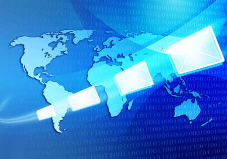 abtract iilustration of email message travelling via internet around the world map Stock Photo - 12373226