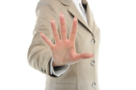 female hand in suit reaching or touching something with fingers isolated on white Stock Photo - 13135893