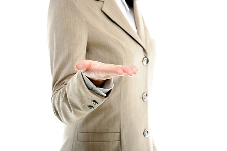 female hand holding showing or giving something over white background Stock Photo - 13251223