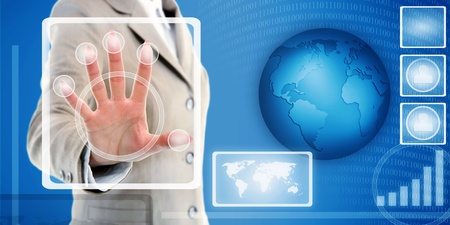 female hand in suit touching fingerprint scanner on virtual interface of identification system  Stock Photo - 13251228