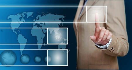businesswoman hand pressing support button on a touch screen interface  Stock Photo