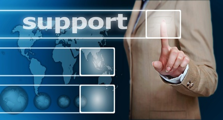 customer support: businesswoman hand pressing support button on a touch screen interface  Stock Photo