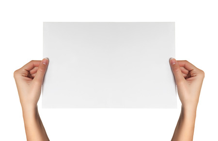 female hands hold white paper isolated photo