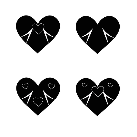 Big set of various heart templates. Different hearts collection. 일러스트