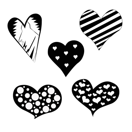 Big set of various heart templates. Different hearts collection. Illustration