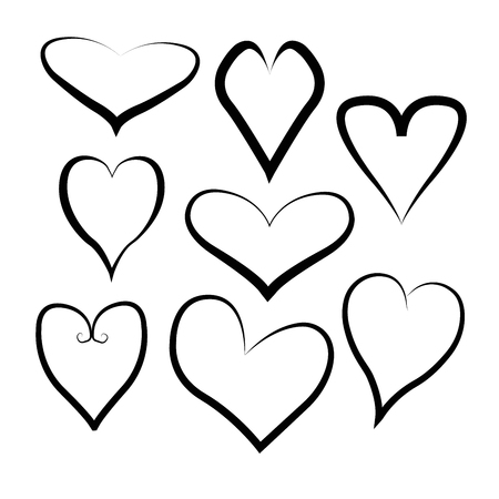 Vector heart collection. Set of outline hand drawn heart icon. Illustration for your graphic design. 版權商用圖片 - 126014183
