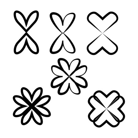 flower, Vector heart collection. Set of outline hand drawn heart icon. Illustration for your graphic design.
