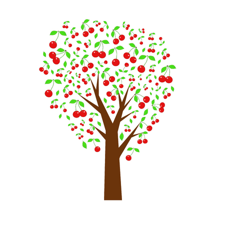 vector illustration. Cherry tree. Summer tree with berries. Ilustração