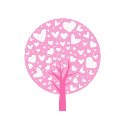 love. Valentine tree. leaf from hearts. Isolated on white background. Vector Illustration