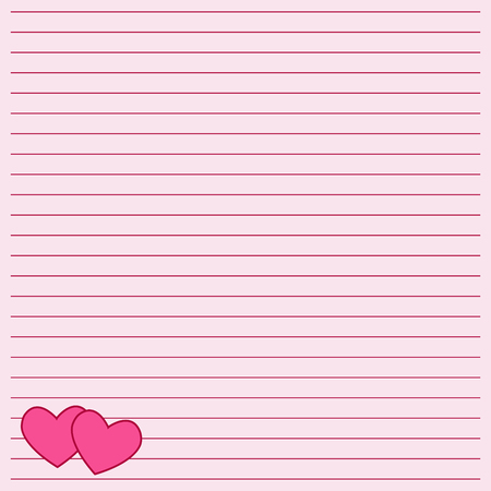 Cute note paper with a heart. The ruled writing book leaf with a hearts.