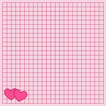 Cute note paper with a heart. The Square writing book leaf with a hearts. Иллюстрация