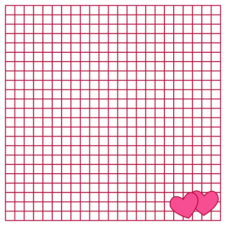 Cute note paper with a heart. The Square writing book leaf with a hearts.