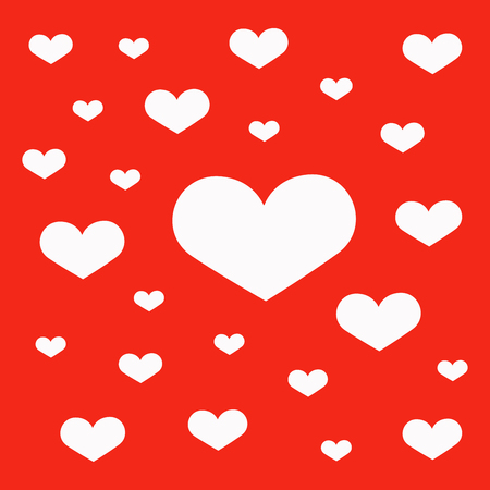 heart shapes in different sizes for Valentines Day background. Lovely heart wallpaper. Ilustração