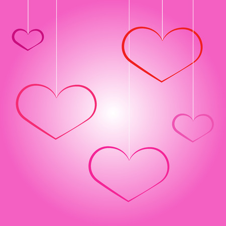 Lovely heart. heart shapes in different sizes and colors for Valentines Day background. Çizim