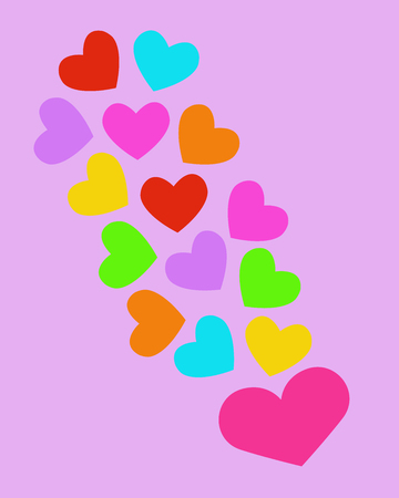 Lovely heart. heart shapes in different sizes and colors for Valentines Day background. Ilustração