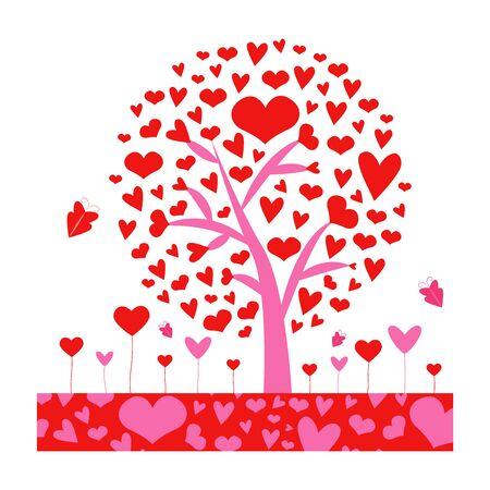 amor. Árbol de San Valentín. hoja de corazones. Aislado sobre fondo blanco. Ilustración vectorial